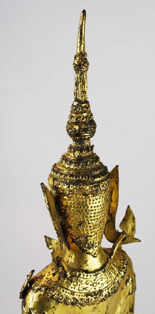Gilt bronze female deity buddha. - 7