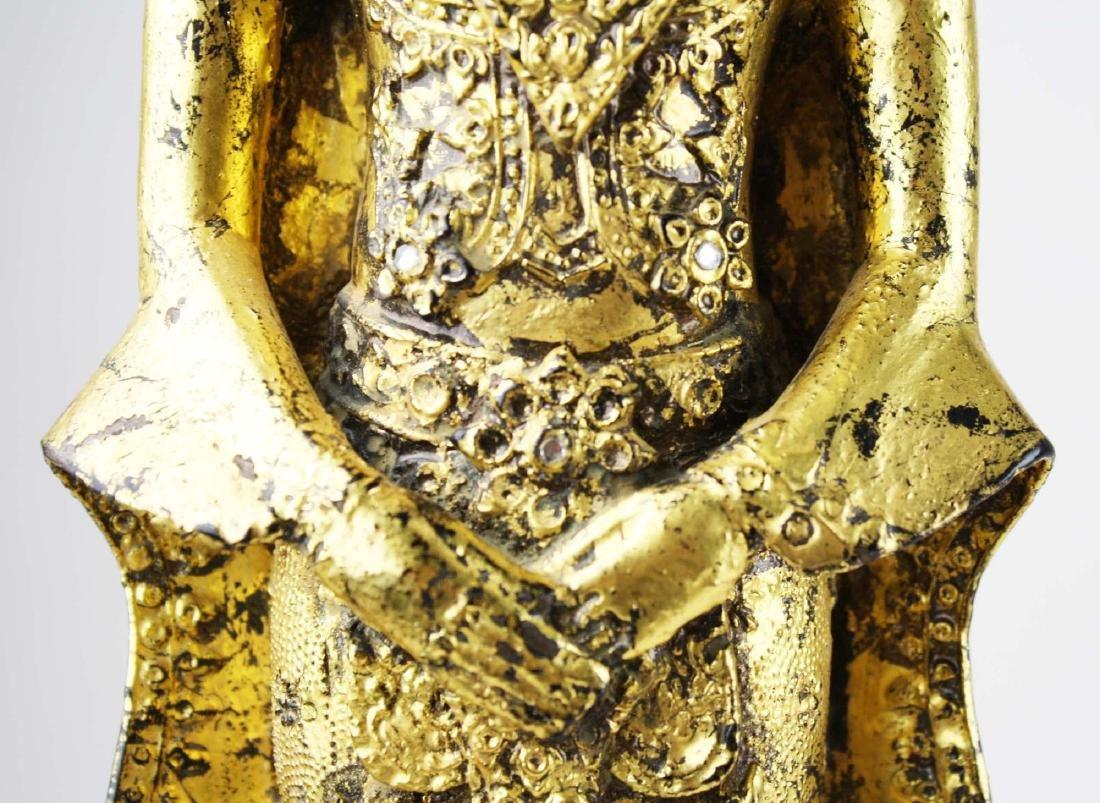 Gilt bronze female deity buddha. - 9
