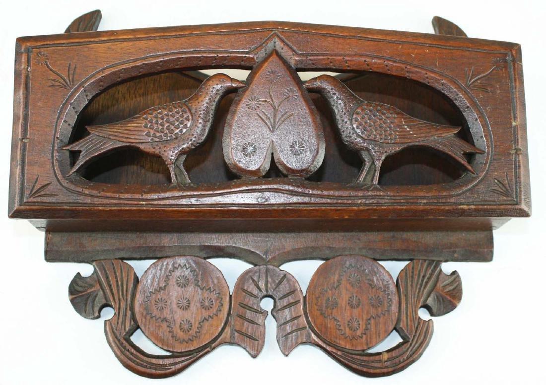 19th c PA walnut folk art carved wall box