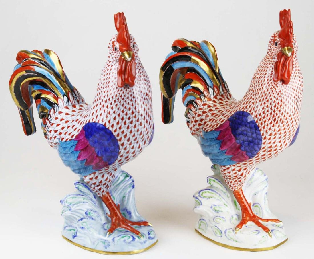Two large Herend rooster figures