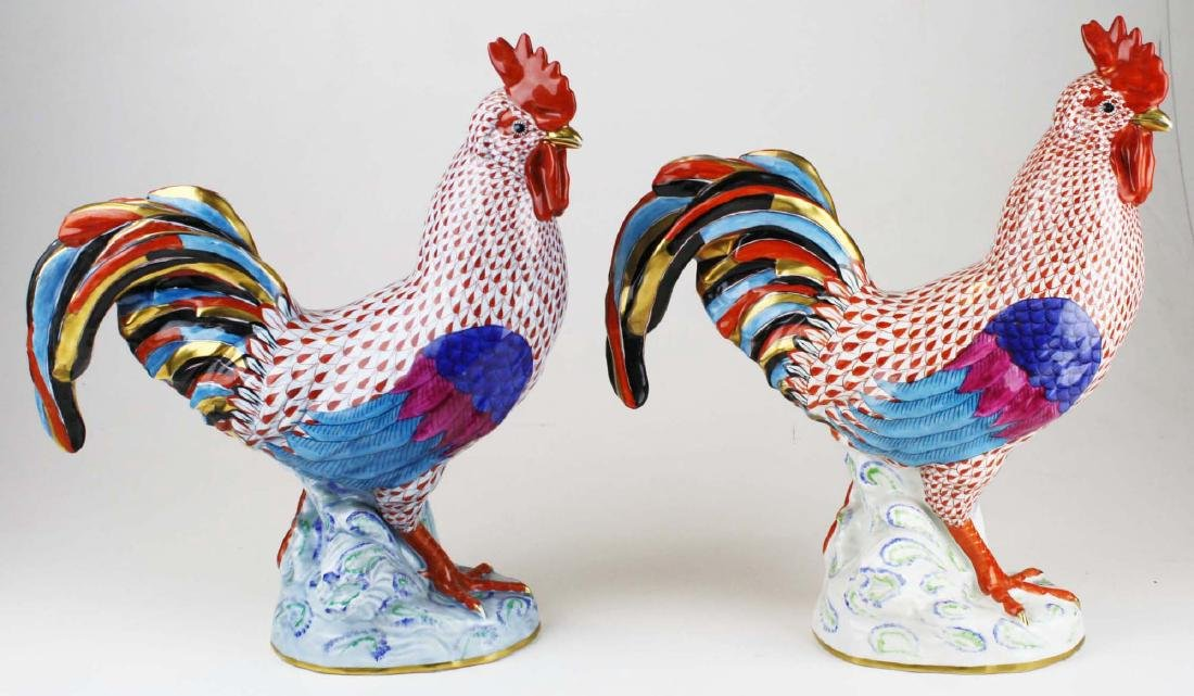 Two large Herend rooster figures - 2