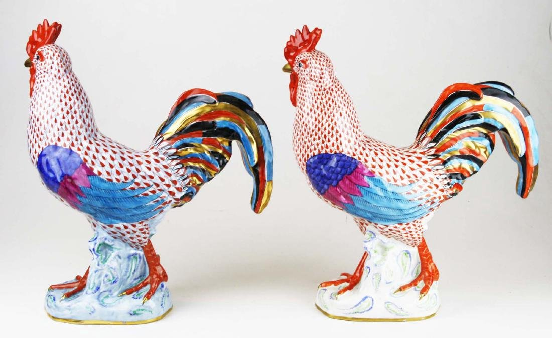 Two large Herend rooster figures - 5