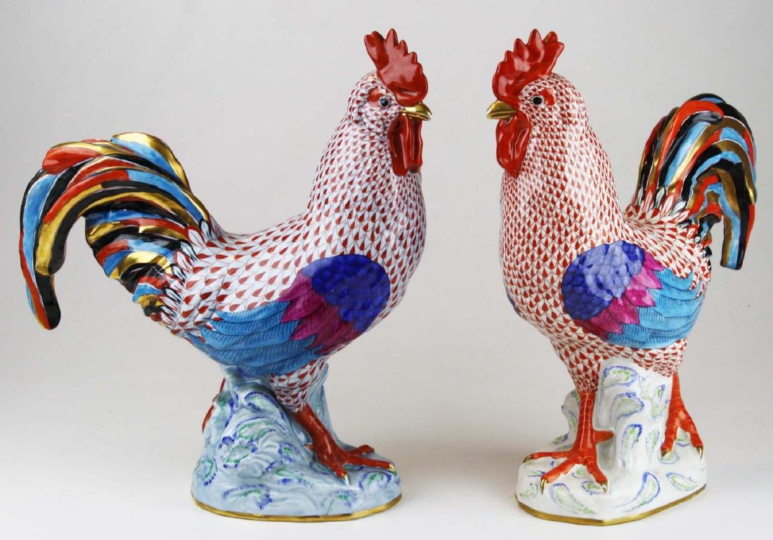 Two large Herend rooster figures - 8