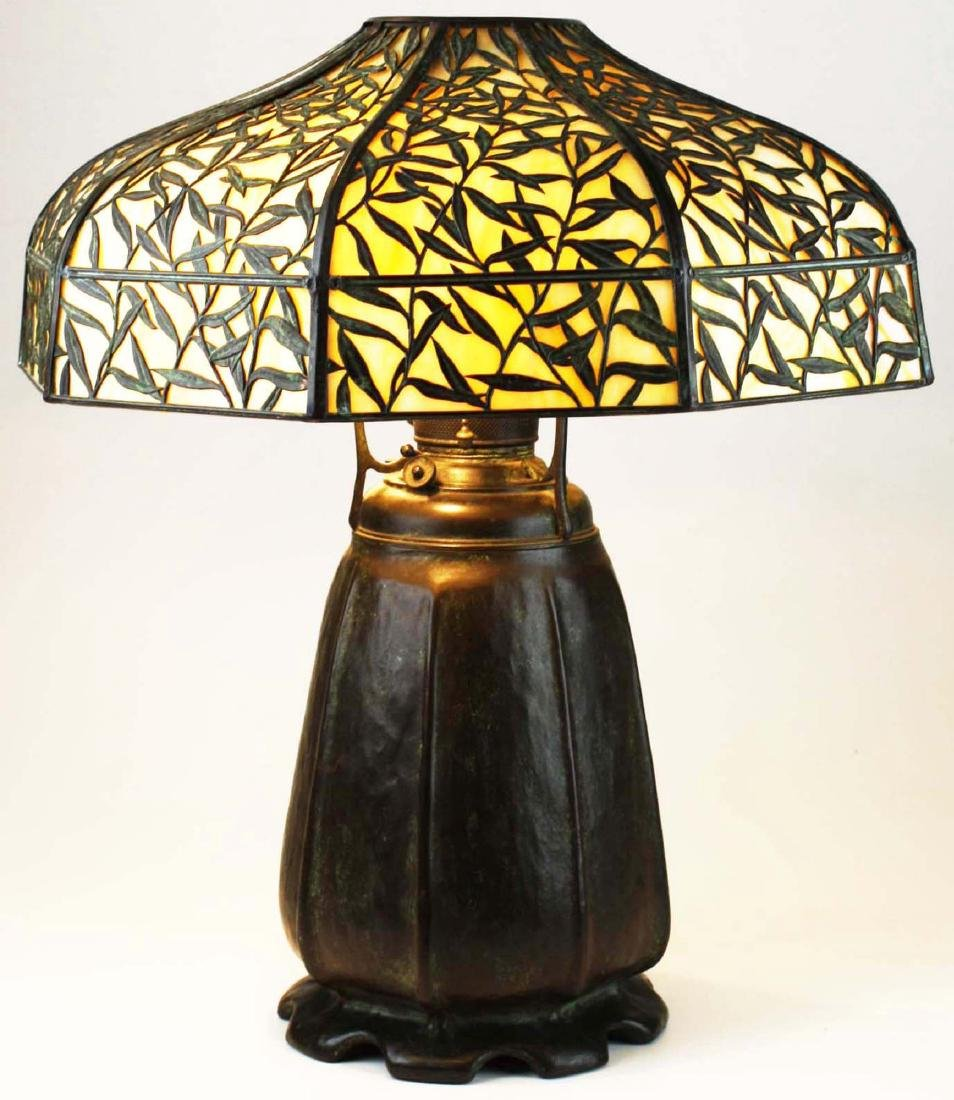 Handel Bamboo Leaf overlay table lamp