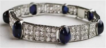 White gold, diamond, & sapphire bracelet