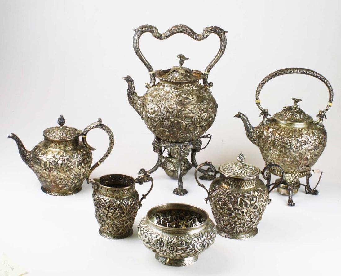 Kirk repousse coin silver 6 pc tea set