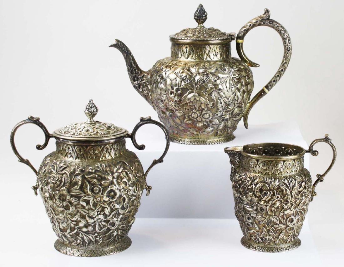 Kirk repousse coin silver 6 pc tea set - 4