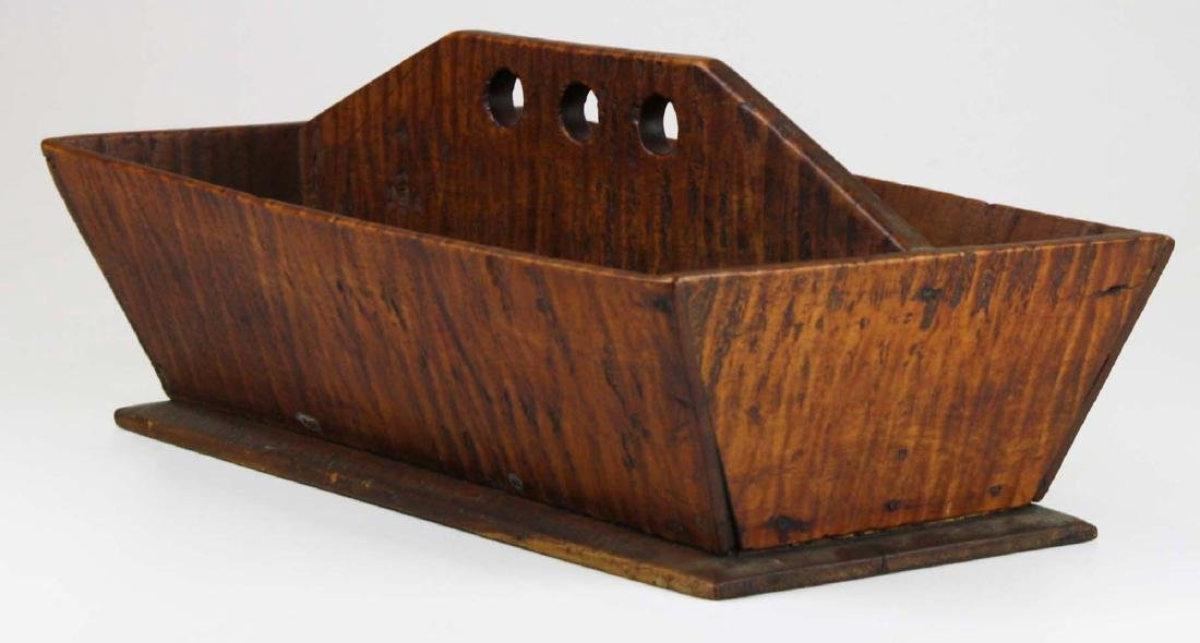 early 19th c NE tiger maple cutlery box