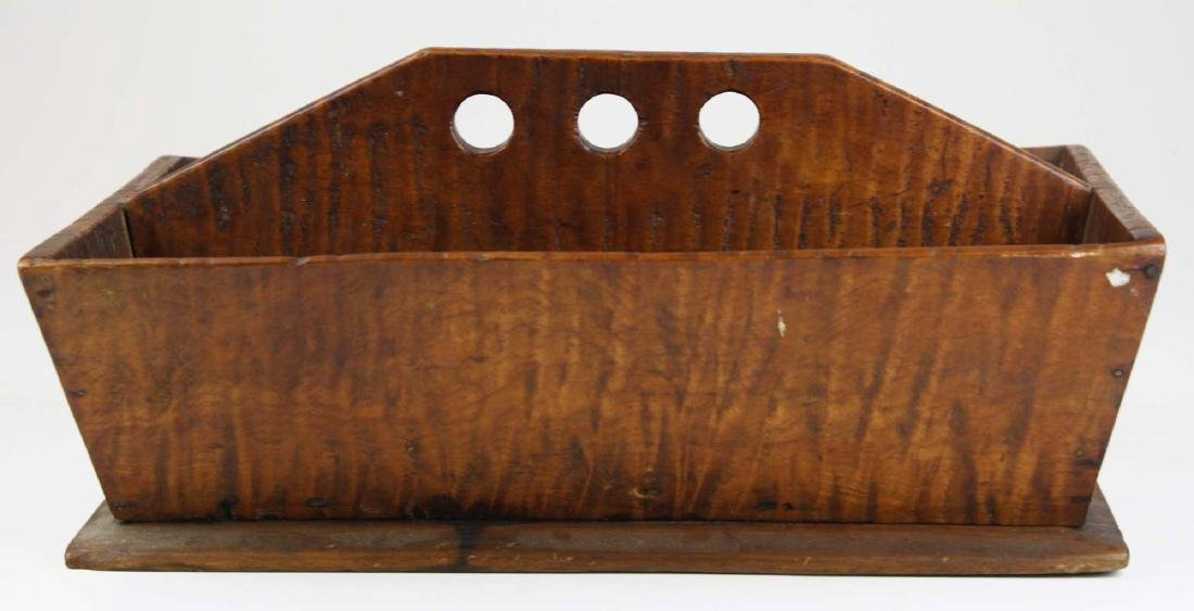 early 19th c NE tiger maple cutlery box - 2