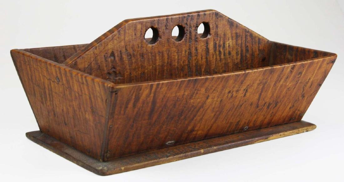 early 19th c NE tiger maple cutlery box - 3