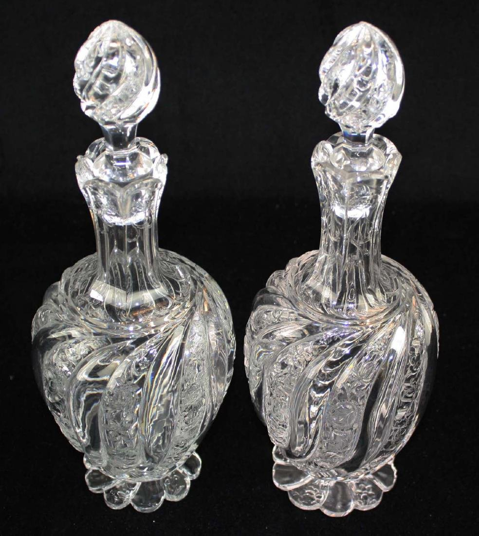 Pair of intaglio swirl cut glass decanters - 3