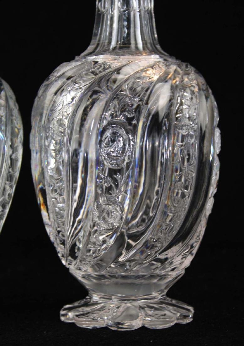 Pair of intaglio swirl cut glass decanters - 5