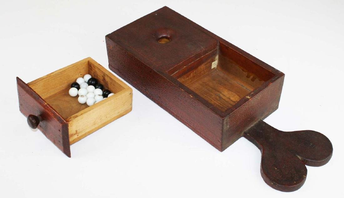 primitive ballot box in old red finish