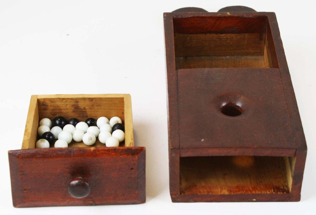 primitive ballot box in old red finish - 2