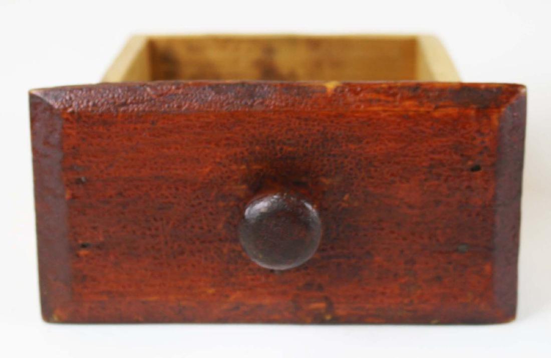 primitive ballot box in old red finish - 6