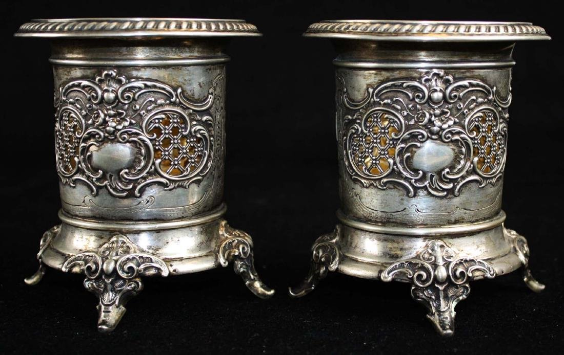 pair of German coin silver wine coasters
