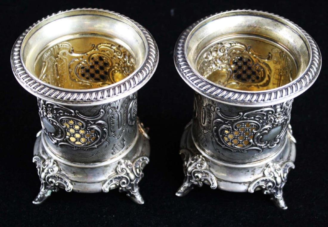 pair of German coin silver wine coasters - 2