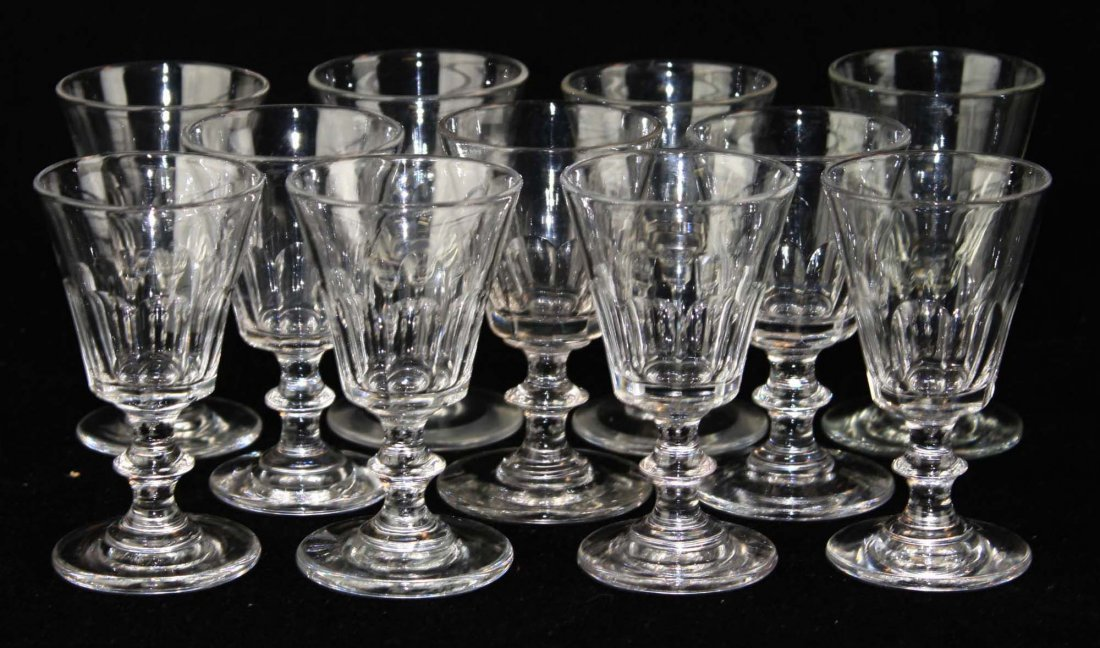 11 early knob stem blown sherry glasses