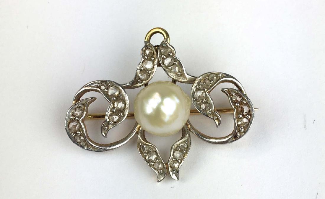 Victorian gold, diamond, & pearl brooch pin.