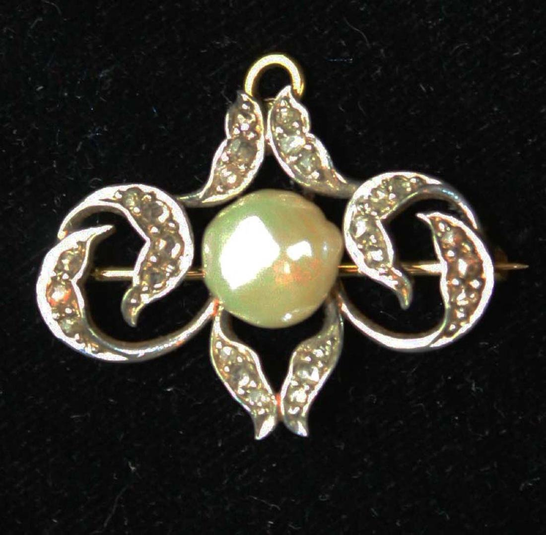 Victorian gold, diamond, & pearl brooch pin. - 3