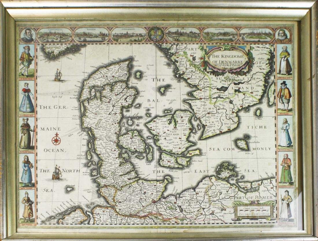 1626 John Speede map Kingdom of Denmark