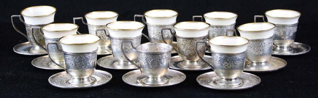 12 sterling demitasse cups and saucers