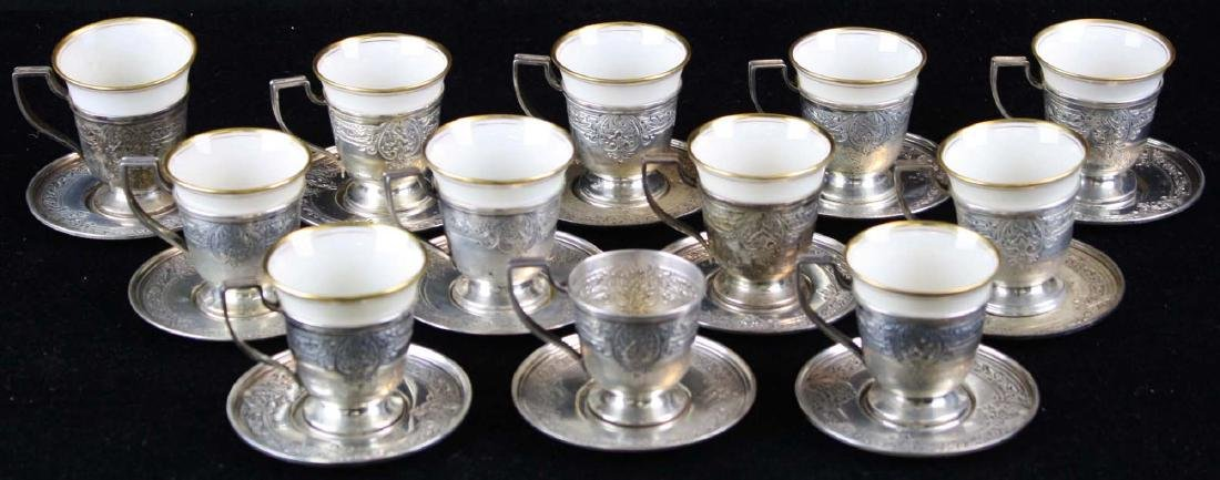 12 sterling demitasse cups and saucers - 2