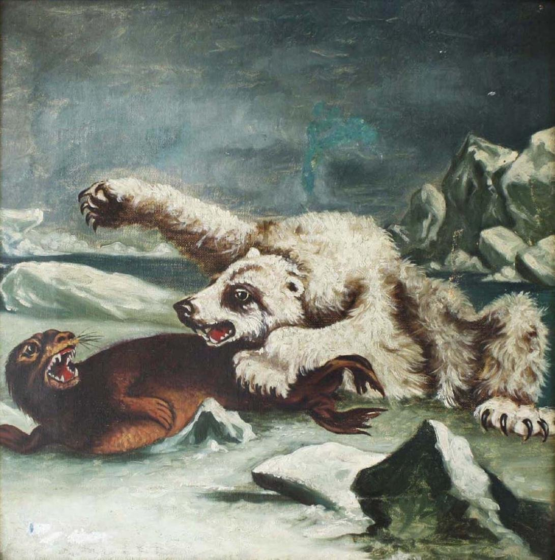 19th c o/c Arctic scene polar bear & seal - 2