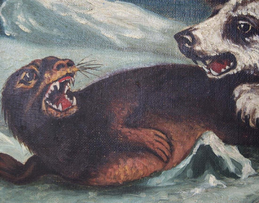 19th c o/c Arctic scene polar bear & seal - 5