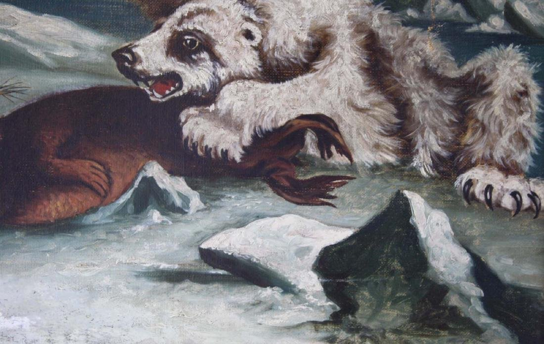 19th c o/c Arctic scene polar bear & seal - 6