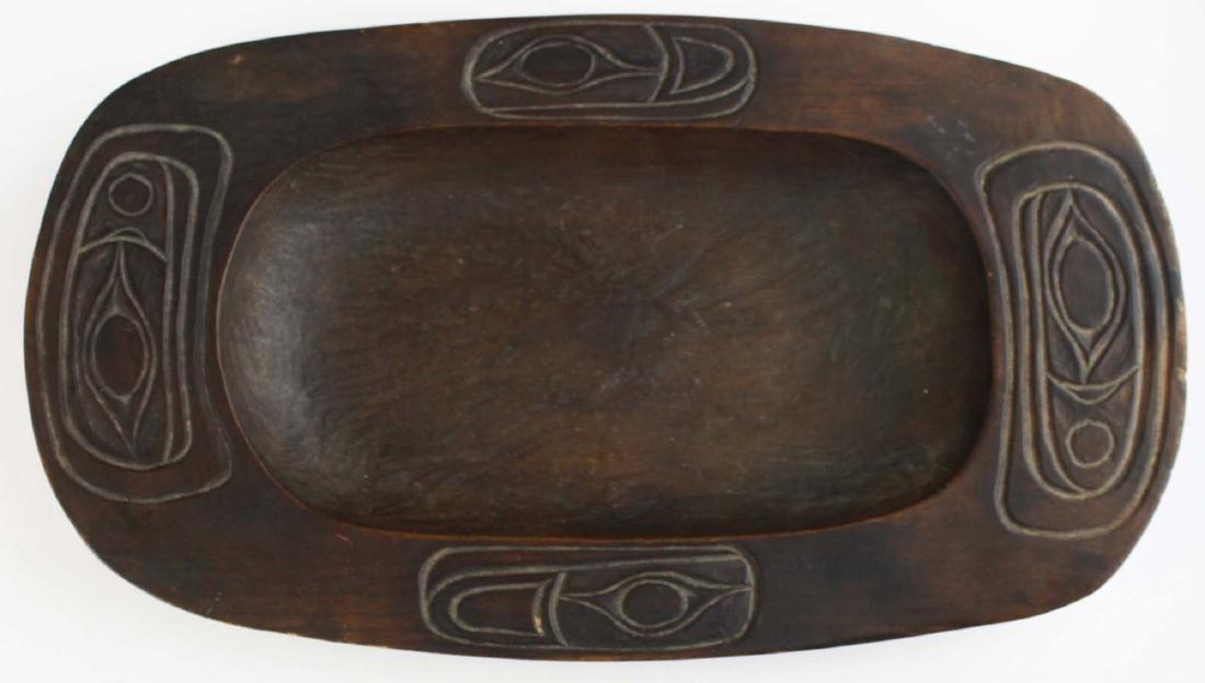 Northwest Coast Haida carved wooden tray