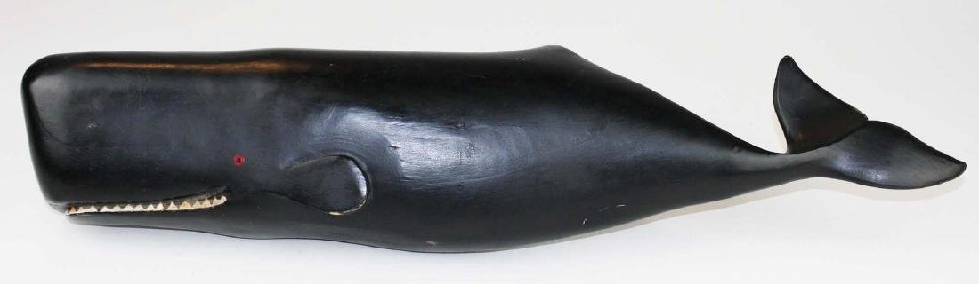 mid 20th c carved & painted sperm whale - 3