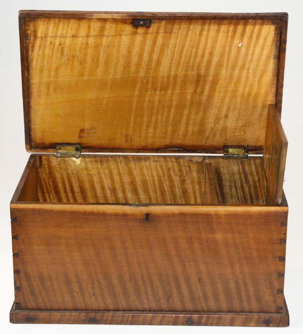 19th c miniature tiger maple blanket box