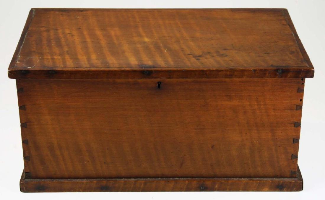 19th c miniature tiger maple blanket box - 2