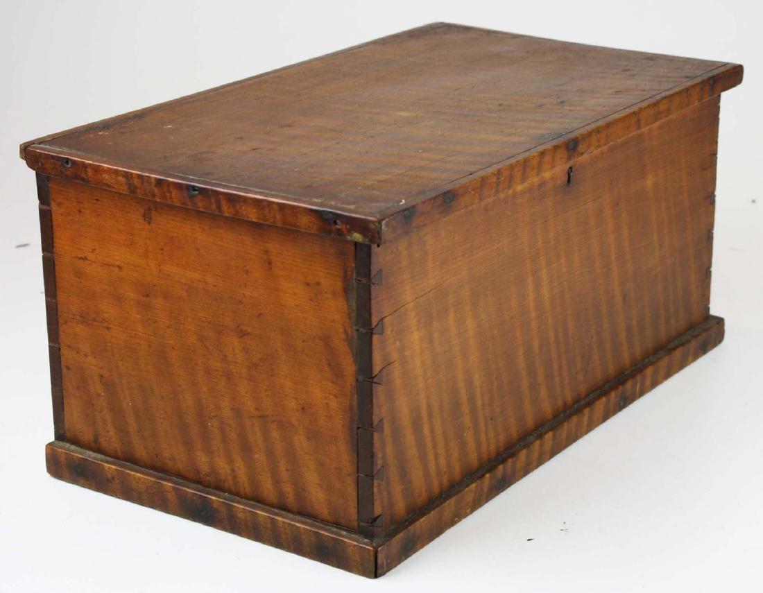 19th c miniature tiger maple blanket box - 3