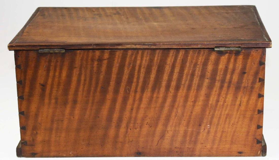 19th c miniature tiger maple blanket box - 4