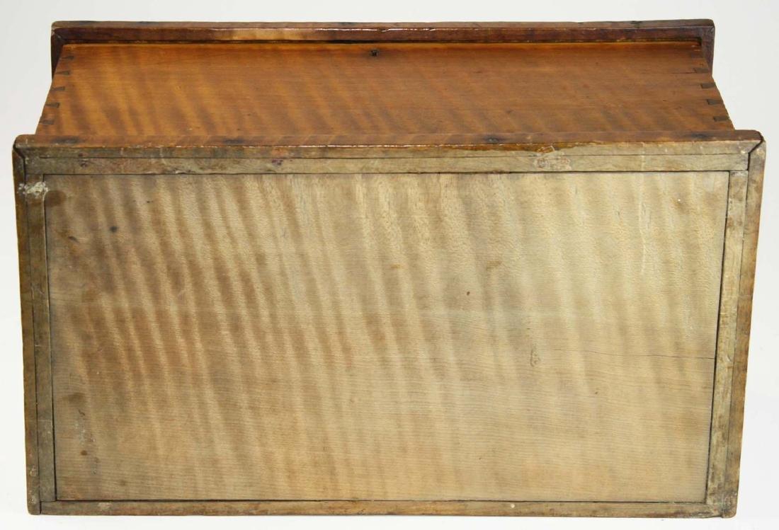 19th c miniature tiger maple blanket box - 5