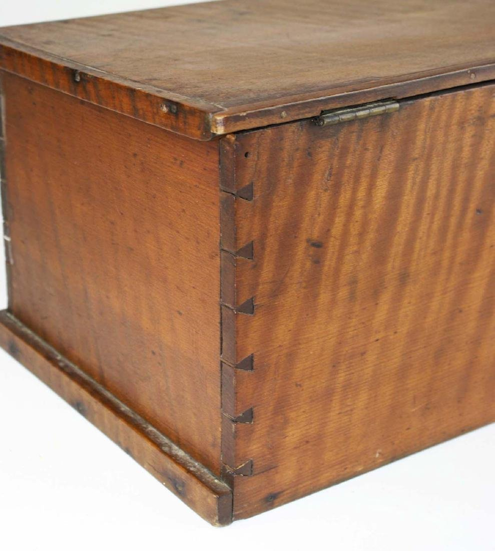 19th c miniature tiger maple blanket box - 7
