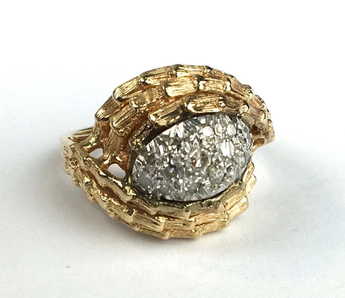 14 k y g diamond melee ladies ring