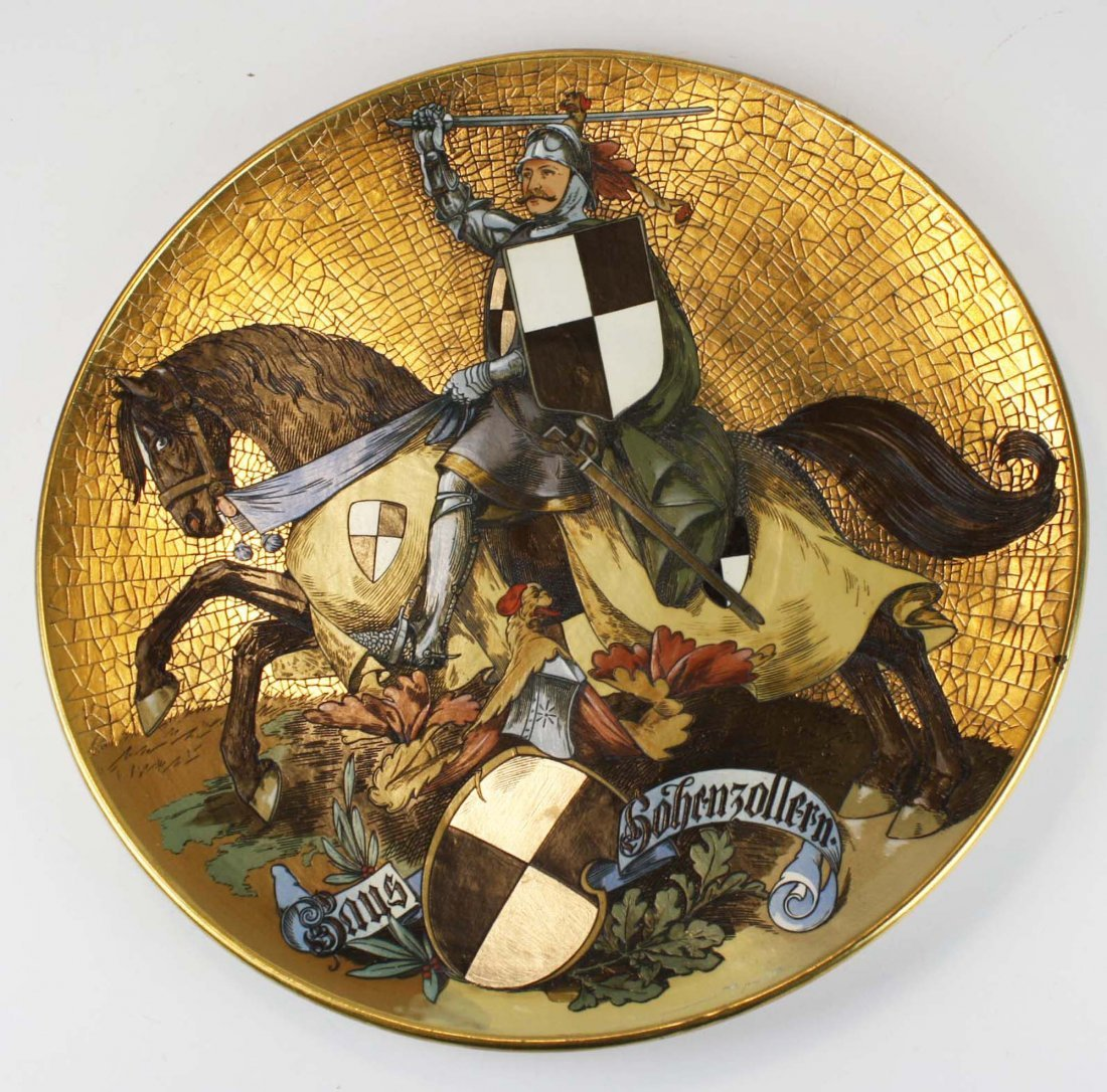 Mettlach pottery charger with knight