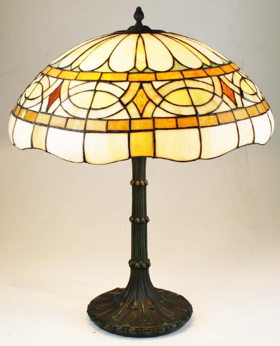 ca 1900 leaded glass bronze base table lamp