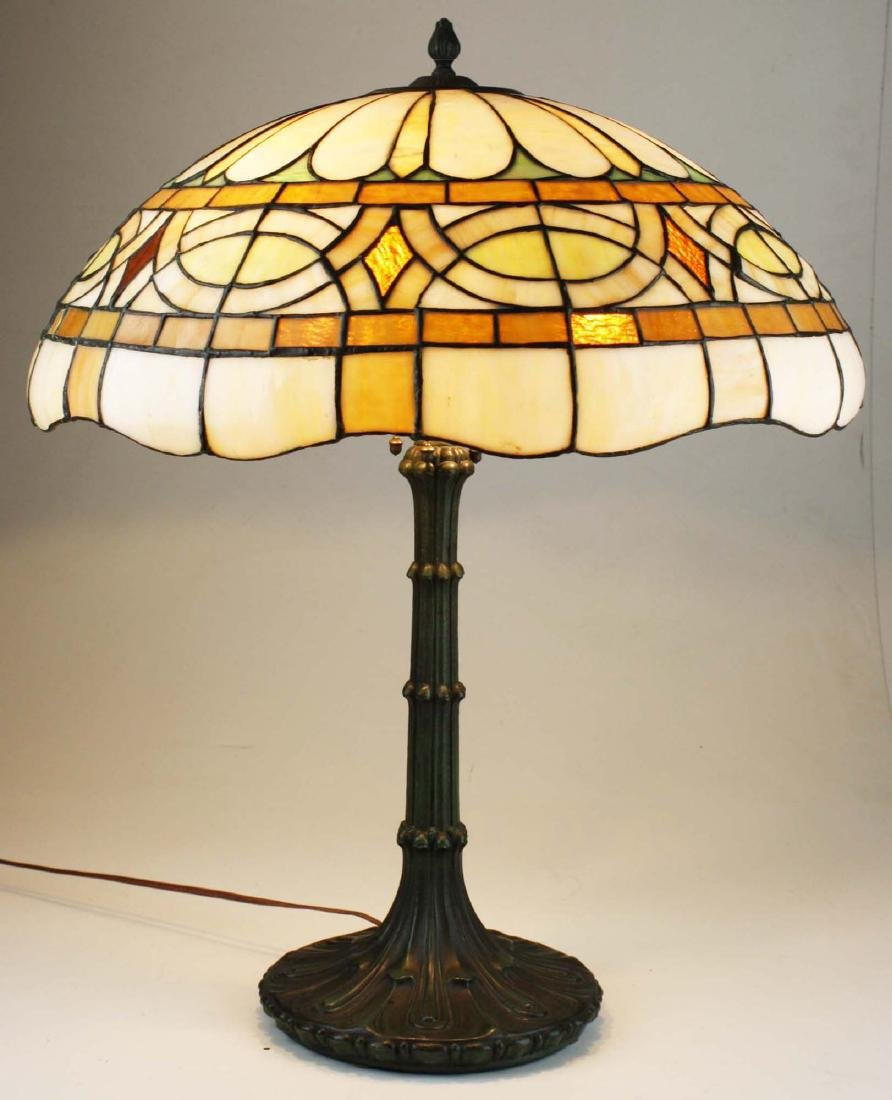 ca 1900 leaded glass bronze base table lamp - 6