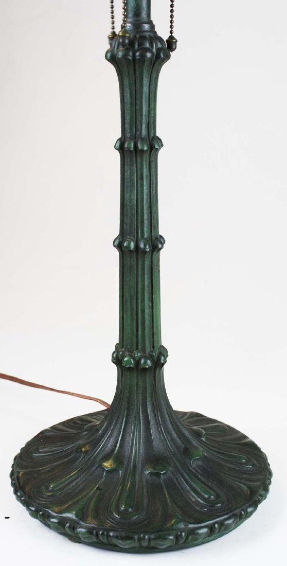 ca 1900 leaded glass bronze base table lamp - 8