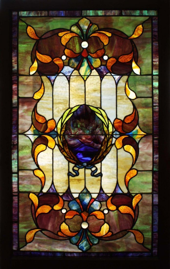 ca 1900 c Art Nouveau stained glass window