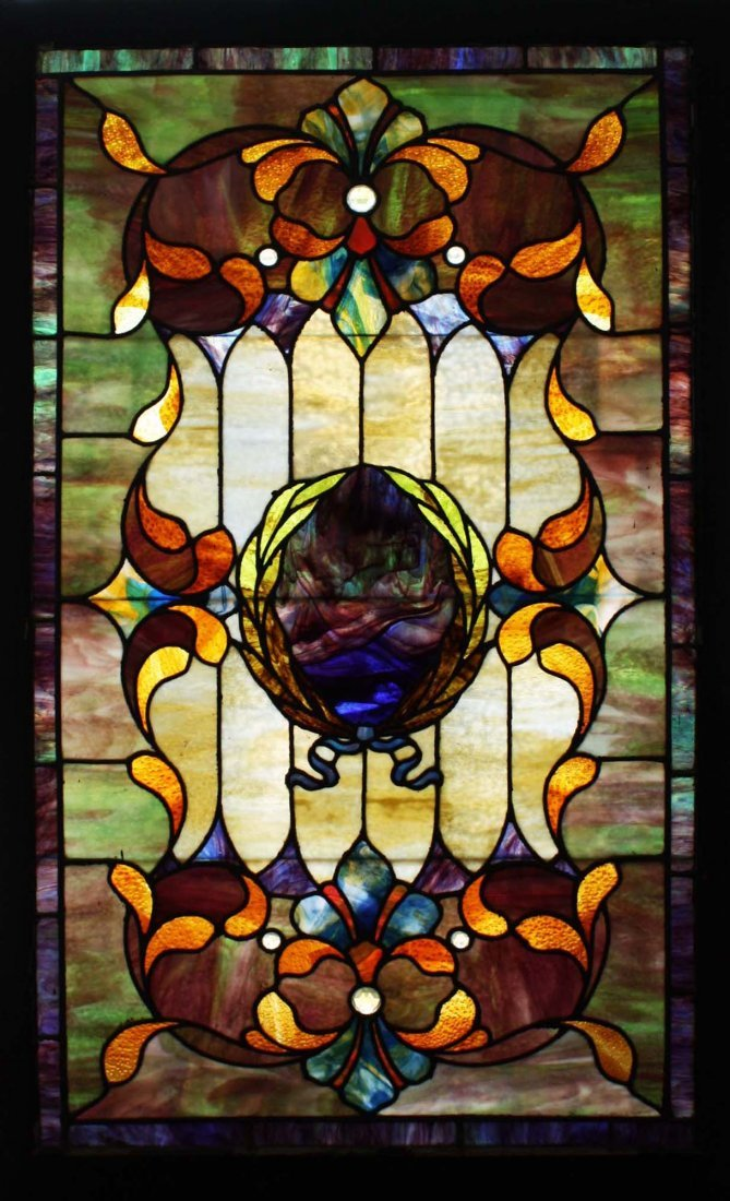 ca 1900 c Art Nouveau stained glass window - 2