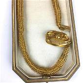 Fine Victorian mesh form yellow gold necklace.