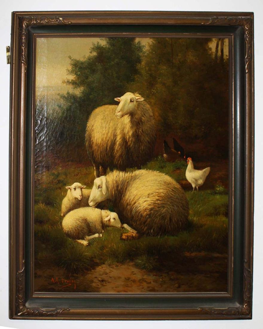 AR Dewing (19th c) Pastoral with sheep - 2