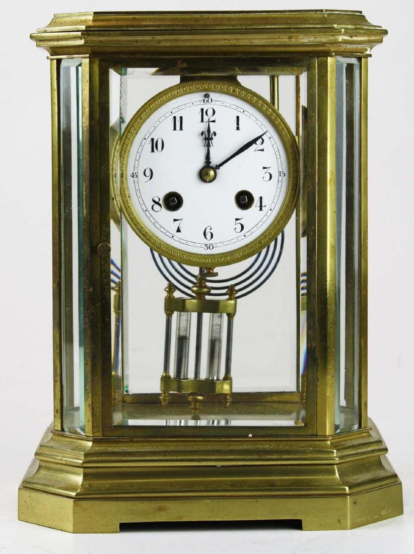 1889 French gilt brass crystal regulator clock