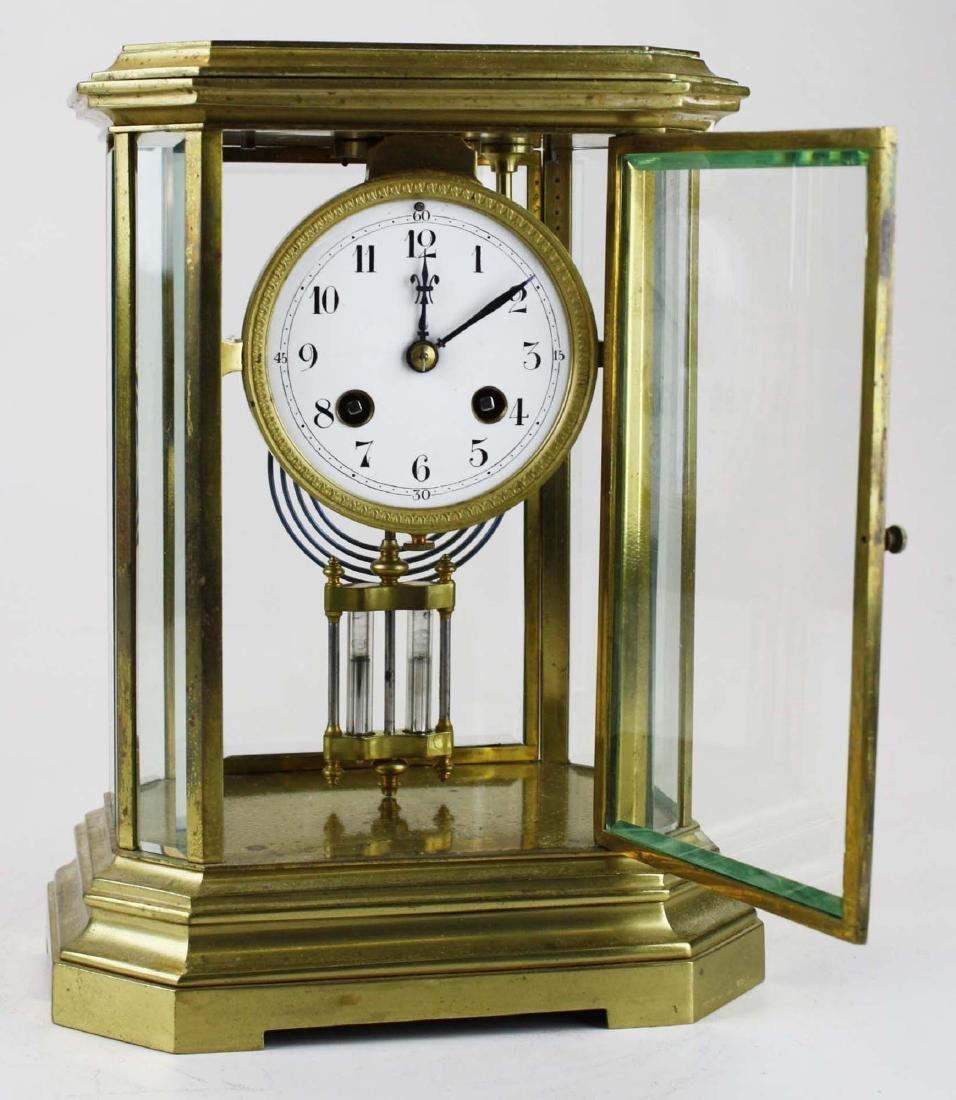 1889 French gilt brass crystal regulator clock - 4