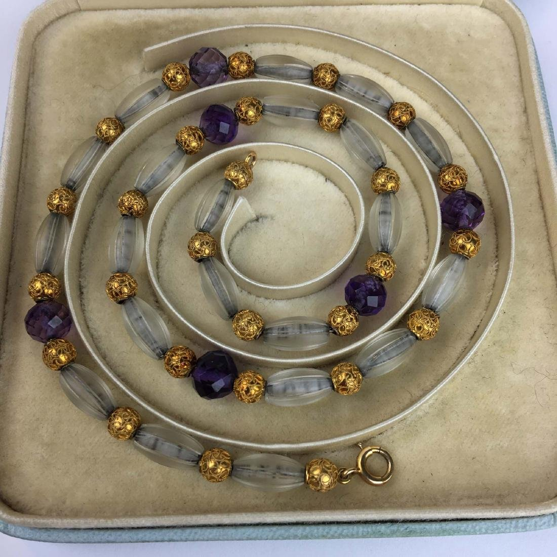 Fine ca. 1900 gold, amethyst, & crystal necklace - 2
